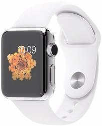 Apple Watch 38mm Carcasa Otel Argintie si Curea Sport Alba Smartwatch