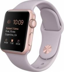 Apple Watch 38mm Carcasa Aluminiu Roz Auriu si Curea Sport Mov MLCH2