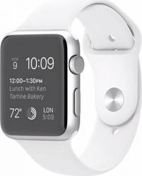 Smartwatch Apple Watch 42mm Carcasa Aluminiu Argintie si Curea Sport Alba MJ3N2 Smartwatch