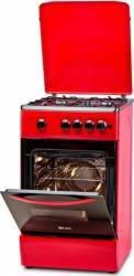 Aragaz LDK 5060 A Red FR LPG Gaz 4 Arzatoare Siguranta Aprindere electrica Capac metalic Rosu Aragazuri