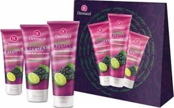 Pachet promotional Dermacol Aroma Ritual Grape and Lime Shower Gel 250ml + Body Lotion 200ml + Hand Cream 100ml