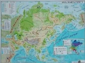 Asia - Harta Fizica + Harta Politica A3
