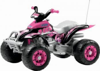 ATV Electric Copii Peg Perego Corral T-Rex 12V Pink Masinute si vehicule pentru copii