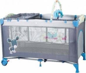 Patut Pliant Cu 2 Nivele Sleepwell Blue Patut bebe,tarcuri si saltele