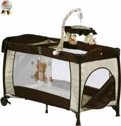 Patut Pliant Cu 2 Nivele Si Mini-Carusel Sleeper Deluxe Maro Patut bebe,tarcuri si saltele