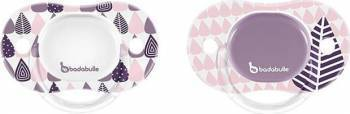 Set 2 suzete ortodontice reversibile 6-12 luni Pink Trees Girl Suzete si accesorii