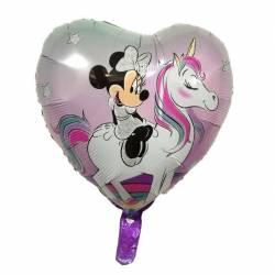 Balon folie Unicorn inimioara cu imprimeu Minnie 45x45 cm 49860a8fa49ea
