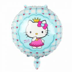 Balon Hello Kitty din folie albastru diametru 45 cm a4bd0e93f4f97