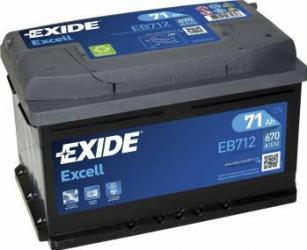 Baterie auto Exide Excell 71AH 670A borna normala Baterii auto