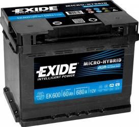 Baterie auto Exide Start-Stop AGM 60AH 680A borna normala Baterii auto