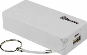 Baterie externa MSONIC 5000mAh Alba Baterii Externe