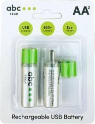 Acumulatori Reincarcabili Abc Tech Cu USB AA Ni-MH Acumulatori Baterii Incarcatoare