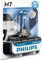 Bec auto cu halogen pentru far Philips H7 12V 55W PX26d White Vision Blister Becuri si sigurante auto