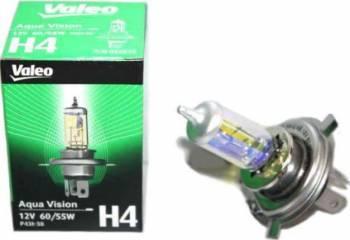 Bec auto cu halogen pentru far Valeo H4 12V 60 55W P43t Aqua Vision Becuri si sigurante auto