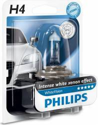 Bec auto Philips H4 12V 60 55W P43t White Vision Blister Becuri si sigurante auto