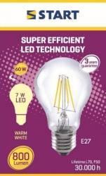 Bec LED Clar Clasic A (A60 ) Decor 7W 2700K 800lm START Becuri