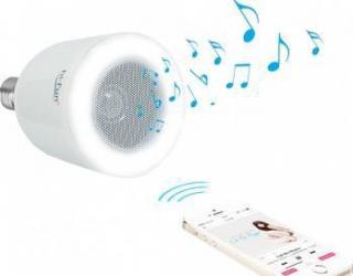 Bec inteligent LED HI-FUN 5W E27 WW cu boxa bluetooth