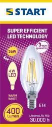 Bec LED Start, E14, 4W, 400 lm, A++, lumina calda Becuri