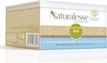 Betisoare cosmetice Naturalesse din bumbac Organic Bebe cutie 56buc Creme si demachiante