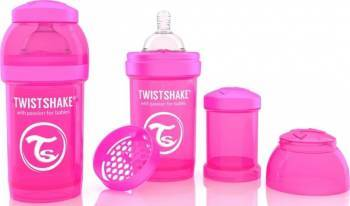 Biberon Anti-Colici Twistshake 180 ml Roz Biberoane, tetine si accesorii