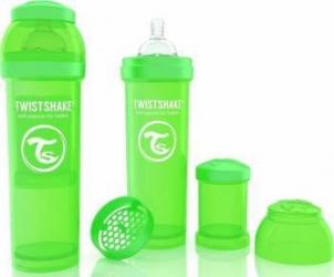 Biberon Anti-Colici Twistshake 330 ml Verde Biberoane, tetine si accesorii