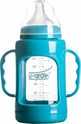 Biberon U-Grow din sticla A-1010 200 ml Blue Biberoane, tetine si accesorii