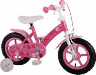 Bicicleta copii fete 12 inch Volare Flowerie cu roti ajutatoare si cosulet Roz Biciclete pentru copii