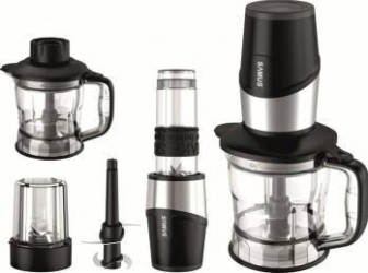 Blender Samus Multimix 3 in 1 600W 570ml 1 viteza Rasnita Lame si baza blender inox Negru