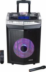 Boxa activa portabila AKAI DJ mixer Bluetooth dual USB Radio Microfon wireless Telecomanda Intrare chitara 200W Sisteme Audio