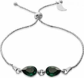 Bratara Argint 925 placat cu rodiu cu cristale Swarovski Fancy Pear Emerald Reglabila Bratari