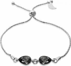 Bratara Argint 925 placat cu rodiu cu cristale Swarovski Fancy Pear Silver Night Reglabila Bratari