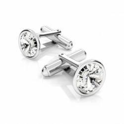 Butoni argint cu Swarovski Crystals Rivoli Crystal Clear 12mm ButoniCriando Bijoux Accesorii barbati