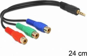 Cablu Delock 3 x RCA la jack Stereo 3.5 mm 4 pini Mama-Tata Cabluri Audio