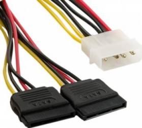Cablu 4World alimentare MOLEX- 2x SATA F/M 15cm