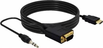 Cablu adaptor HDMI tata Full HD 1080p la VGA tata cu cablu audio 1.8m Negru Cabluri Video