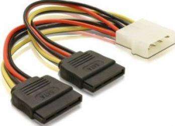 Cablu alimentare 4 pin Molex la 2 x SATA 10 cm