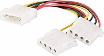 Cablu alimentare 5.25 1x 4p Molex tata - 2x 4p Molex mama 30 cm