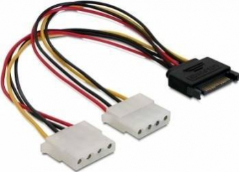 Cablu alimentare Delock SATA 15 pini 2x Molex 4 pini Cabluri Componente