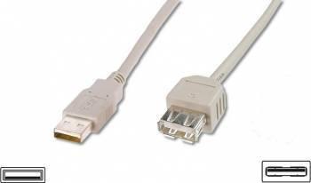 Cablu ASSMANN Extensie USB 2.0 HighSpeed USB A M - USB A F 1,8m Gri