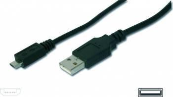 Cablu ASSMANN USB 2.0 HighSpeed USB A M - microUSB B M 1,8m Negru
