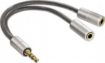 Cablu hama spliter 3.5 jack la 2x mufe jack 3.5 mm Stereo Argintiu