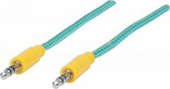 Cablu Audio Manhattan Stereo 3.5mm 1.8m Albastru/Galben Cabluri Audio