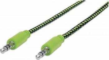Cablu Audio Manhattan Stereo 3.5mm 1.8m Negru/Verde