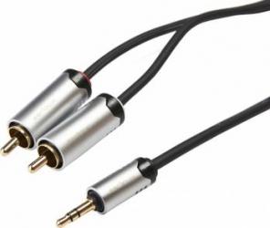 Cablu audio Serioux Premium jack 3.5mm - 2 RCA 3m Negru Cabluri Audio