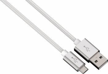 Cablu Date Hama microUSB ColorLine 1m Alb Cabluri telefoane mobile