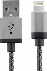 Cablu Date Star USB - Lightning Aluminiu 1m Alb Negru Cabluri telefoane mobile