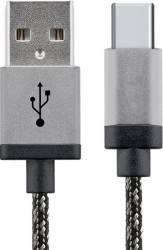Cablu Date Star USB - Type C Aluminiu 1m Alb Negru