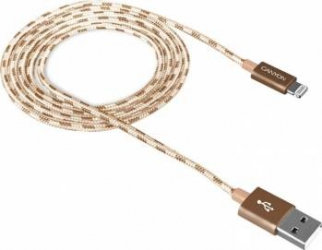 Cablu de date impletit Canyon USB2.0 - Lightning 1m Gold Cabluri telefoane mobile