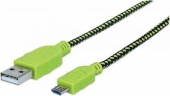 Cablu de date Manhattan MicroUSB 1m Verde/Negru
