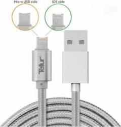Cablu De Date Tellur 2 in 1 USB Reversibil  Micro USB si Lightning 1m Argintiu Cabluri telefoane mobile